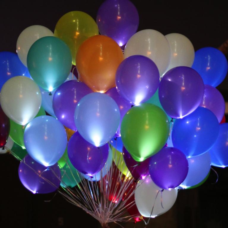 Светящиеся шарики с гелием фото